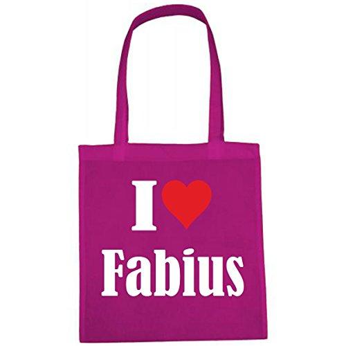 Tasche I Love Fabius Größe 38x42 Farbe Pink Druck Weiss