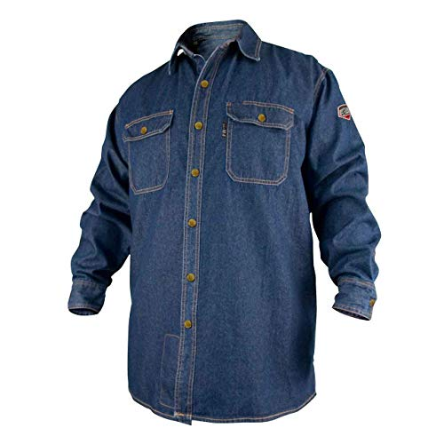 Product Image of the REVCO BLACK STALLION FR FLAME RESISTANT DENIM WORK SHIRT - FS8-DNM LARGE