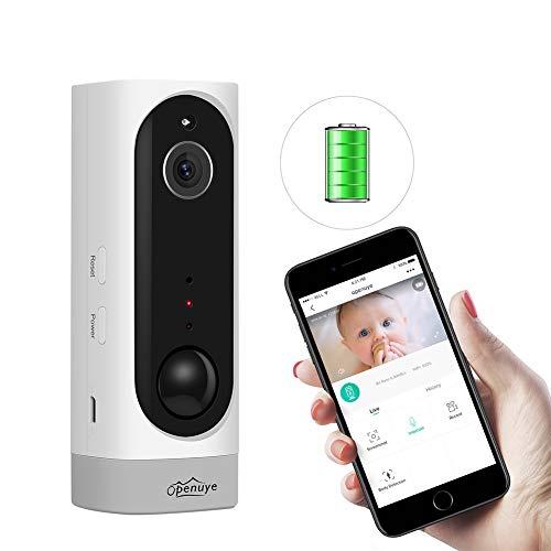 Openuye Cámara de seguridad, IP recargable 720P con batería incorporada y detección de movimiento PIR, visión nocturna, LED de infrarrojos, audio bidireccional, admite tarjeta TF de 128GB(no inclu