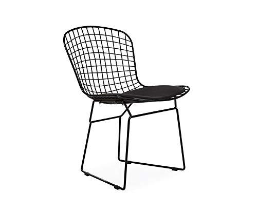 ElleDesign Bertoia Wire Chair Estructura lacada Negra cojín Negro versión Total Black
