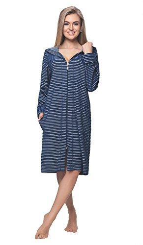DOROTA Albornoz de algodón suave y moderno con bolsillos, cremallera y capucha. Diseño de rayas marinas. XL