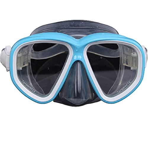 Máscara de Buceo Adulto Gafas de Buceo de Vidrio Templado, Campo Grande de visión Mascarilla de Snorkel Mascarilla Silicona Ajustable Espejo con Equipo de Blue