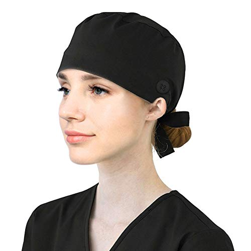 Working Cap with Button, Unisex Cotton Working Hat with Sweatband Adjustable Tie Back Hats for Women Men One Size Black