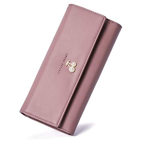 Leder Geldbörse Damen Lang Geldbeutel Groß Portemonnaie viele Kartenfächer für Frauen rosa