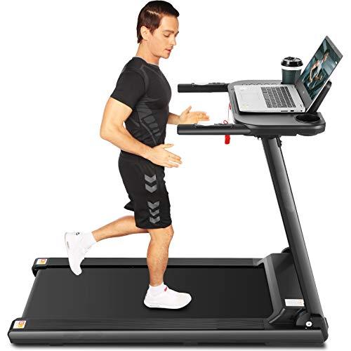 ANCHEER Faltbares Laufband, tragbare Laufbänder mit großem Schreibtisch und Bluetooth-Lautsprecher, 265 LB Laufband mit maximalem Gewicht für den Heim-Fitness-Studio-Cardio-Einsatz (Weiß)