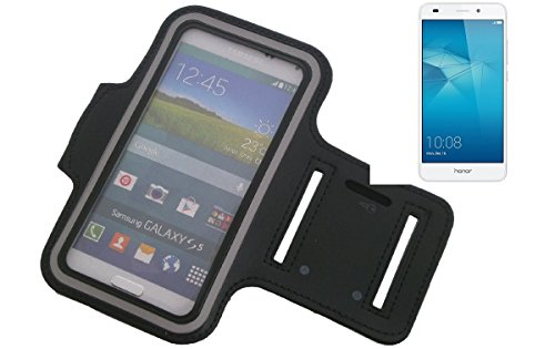 K-S-Trade® Für Huawei Honor 5C Neopren Jogging Armband Sportarmband Oberarmband Schwarz Für Huawei Honor 5C Mit Reflektor Streifen. Fitness Lauf Armband