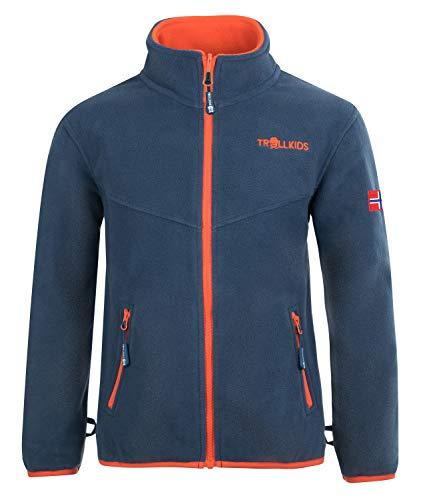 Trollkids Kinder Oppdal XT Fleece Jacke, Mystik Blau / Orange, Größe 152