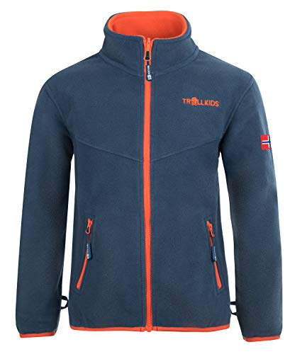 Trollkids Kinder Oppdal XT Fleece Jacke, Mystik Blau/Orange, Größe 92