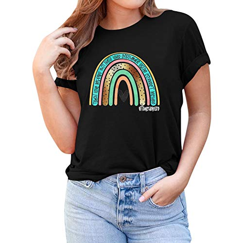MAYBEcuy Women's Rainbow T Shirts Casual Pullover Tunic Shirt Graphic Tees Tops Summer Loose T-Shirt Blouse Tshirt