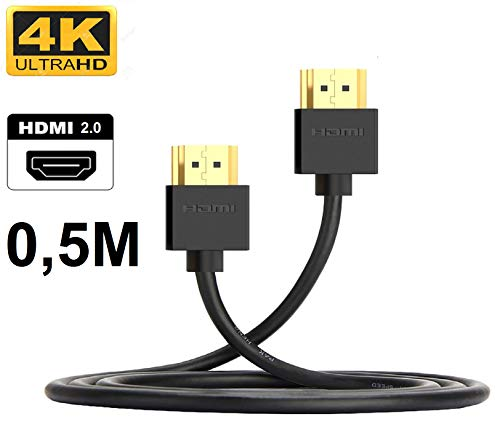 50cm - 4K Slim HDMI Kabel - Premium HDMI-Kabel, 4K UltraHD (60 Hz), ARC, HDR, High Speed mit Ethernet (50cm)