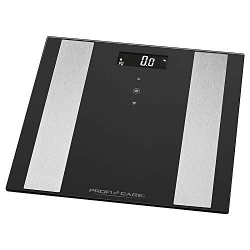ProfiCare PW 3007 - Báscula baño digital con análisis corporal de 8 funciones diagnóstico, color negro inox