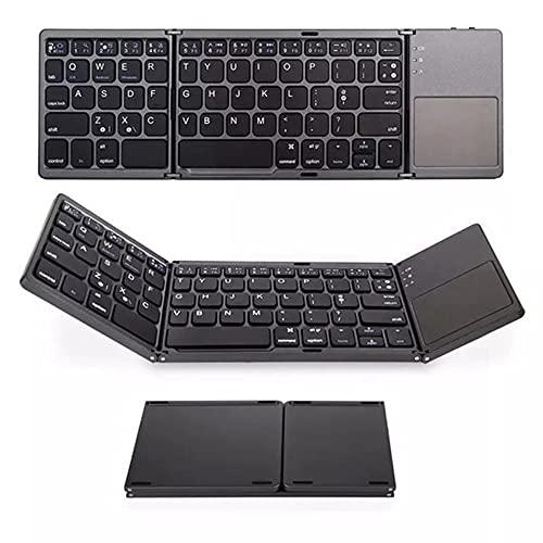 Egdu Teclado Bluetooth con Touchpad, Teclado USB Recargable Plegable Portátil, Teclado De...