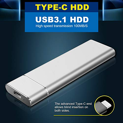 Disco Duro Externo 1 TB, Type C USB3.1 Portable HDD para PC, Mac, Xbox One, MacBook, Desktop, Laptop, Chromebook. (1TB,Plata) miniatura