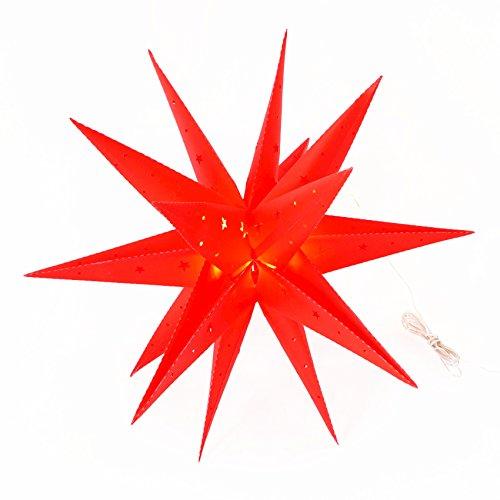 XL viksten adventsstjärna 60 cm inkl. LED-belysning röd