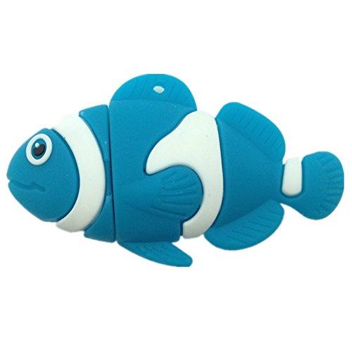 Pesce Acquario Mare 8 GB - Fish - Acquario e Mare Chiavetta Pendrive - Memoria Archiviazione dei Dati - USB Flash Pen Drive Memory Stick - Blu e Bianco