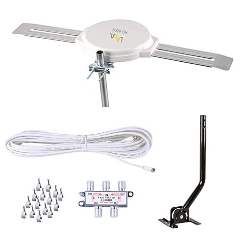Lava HD8008 Omnidirectional Outdoor TV Antenna HD TV 4K 360 Degree OmniPro HD-8008 + Installation Kit & TV Antenna Jpole