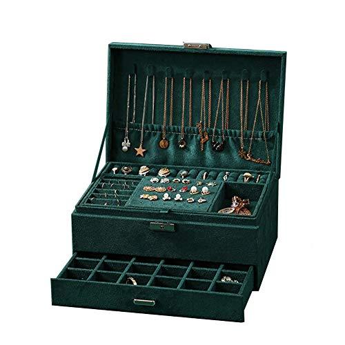 POMNEFE Caja de joyería, caja de almacenamiento verde de tres capas, anillo de gran capacidad y caja de almacenamiento de collar, caja de joyería de maquillaje con cerradura para mujer