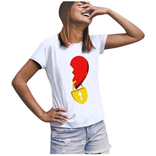 t Shirt Damen Shirt Damen T-Shirts Frauen Paare Liebhaber Valentinstag Kurzarm Liebesbrief Print Tops (S,5Damen-Weiß)