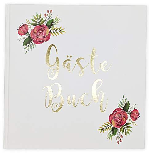 Sophies Kartenwelt Gästebuch Hochzeit - Goldfoliengeprägtes Hardcover / 144 weiße Seiten/Format:...