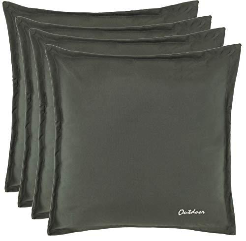 Brandsseller Outdoor Kissen Dekokissen - Schmutz- und Wasserabweisend mit Reißverschluss 2 cm Steg - 350 gr. Füllung - Größe: 48 x 48 cm (4er-Vorteilspack, Dunkelgrau-Olive)