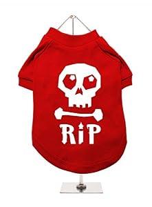 UrbanPup Halloween?: Tête de Mort R.i.p.&Quot T-Shirt pour Chien (Rouge/Blanc)