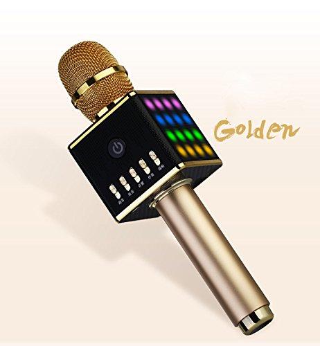 CCLOON Luxe Mental Condenser Wirelss Bluetooth Microfoon MIC met Kleurrijke LED Licht Dubbele luidspreker Drie lagen filterkop Professionele Mixer voor Studio Broadcasting Youtube Podcasting