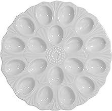 """White Ceramic 18 Section Deviled Egg Plate, 11"""" Dia"""
