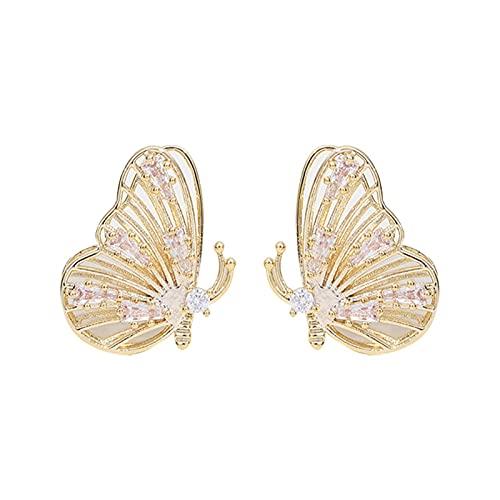 Xingang Pendientes de mariposa para mujer, 3D, diseño de diamantes, para niñas, simple pendiente, joyería de regalo