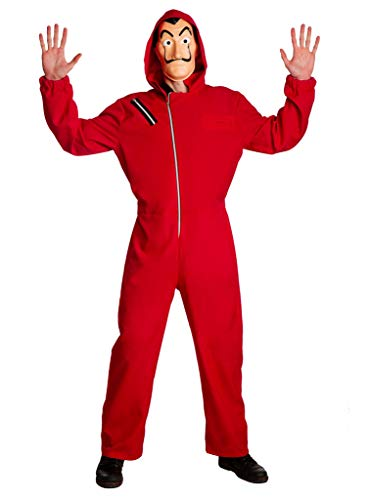 Bankräuber Einbrecher Kostüm mit Overall, Kapuze & Maske - Größe: L - Anzug Verkleidung für Karneval, Fasching & Motto-Party