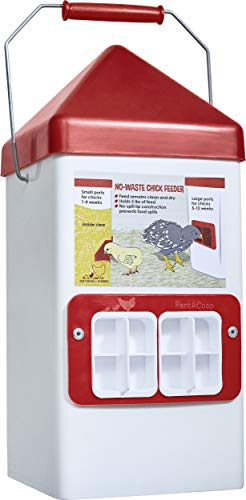 RentACoop Dual-Port Chick Feeder 5LB Capacity for Poultry/Chicks/Quail