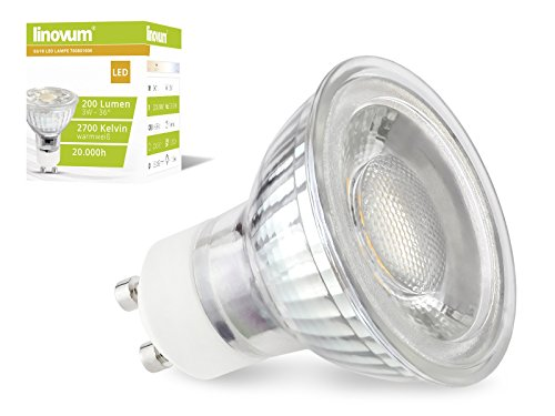 linovum® 3W GU10 LED Lampe für 230V - ersetzt 35W Halogen - warmweißes LED Leuchtmittel 36° Abstrahlwinkel 200 Lumen Strahler