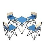 QINYUP Tragbares Klapptisch und Stuhl Tisch und Stuhl Fünfstück Picknick-Tisch-Set,Blau