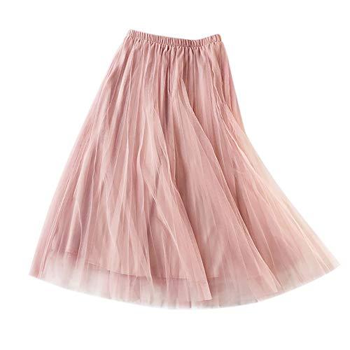 Hongyuangl Damen Sommer Plissee A-Line Midi Rock Tüll Kleid