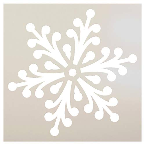 Snowflake Stencil by StudioR12 | Jeweled Winter Art | Reusable Mylar Template | Painting, Chalk, Mixed Media | Use for Journaling, DIY Home Decor | Select Size (12 x 12)