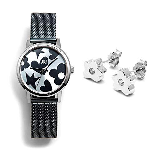 Juego Agatha Ruiz de la Prada reloj AGR250 azul acero pendientes plata Ley 925m flor lisa circonita - Modelo: AGR250