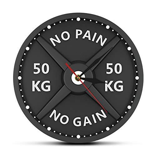 N/ A Barbell 3D Reloj de Pared Moderno Levantamiento de Pesas Pesa de Gimnasia Culturismo Reloj de Pared Gimnasio Entrenamiento Regalo de Hombre Fuerte