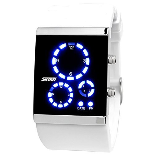 Unisex Paar gelee led elektronische Sport Uhren, Großen Bildschirm Bunte Kieselgel Armband Mode männer und Frauen DREI Windows Armbanduhr wasserdicht-C
