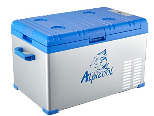 Alpicool A30 Portable Refrigerator 32 Quart(30 Liter) Vehicle, Car, Turck, RV, Boat, Mini Fridge Freezer Travel, Outdoor Home use -12/24V DC 110-240 AC(Blue and Silver)