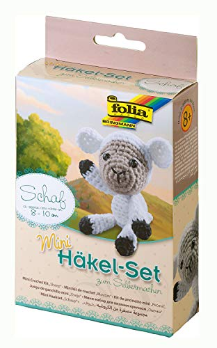 folia 23903 - Mini Häkelset Schaf, ca. 8 - 10 cm groß, Komplettset zur Erstellung von einem selbst gehäkelten niedlichen Schaf, für Kinder ab 8 Jahren und Erwachsene, als Geschenk