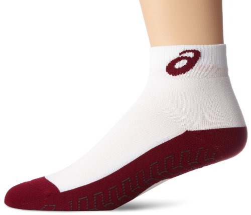ASICS Snap Down Socken, Mädchen Jungen Unisex Damen Herren Unisex-Erwachsene, weiß/kastanienrot (Cardinal), X-Large