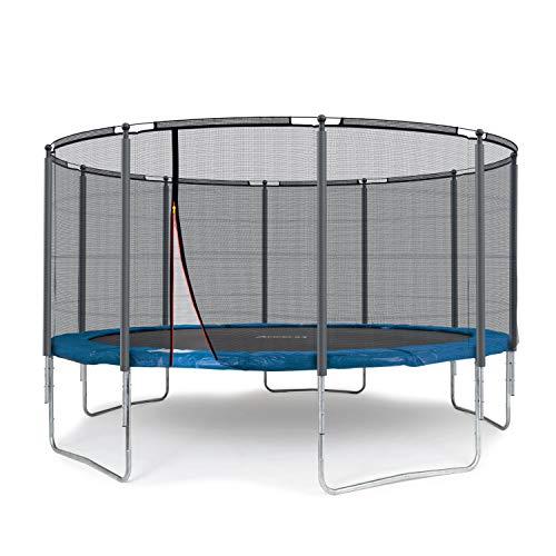 Ampel 24 Outdoor Trampolin 430 cm blau komplett mit außenliegendem Netz, Stabilitätsring, 10 gepolsterten Stangen, Belastbarkeit 160 kg