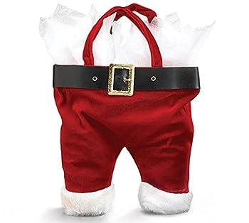 Burton & Burton Santa Pants One Size Tote Bag for Wine Bottle Red