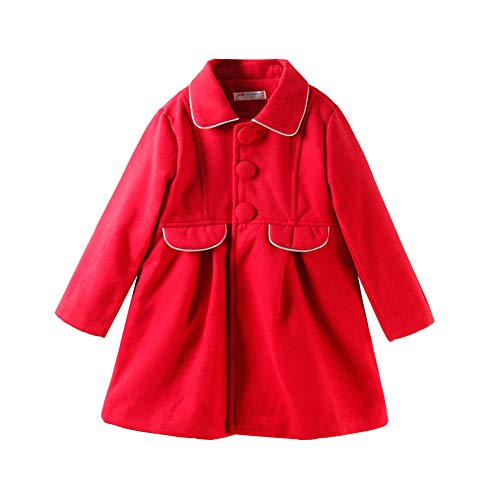 LittleSpring Toddler Girls Faux Wool Dress Coat Slim-Fit Red 3T