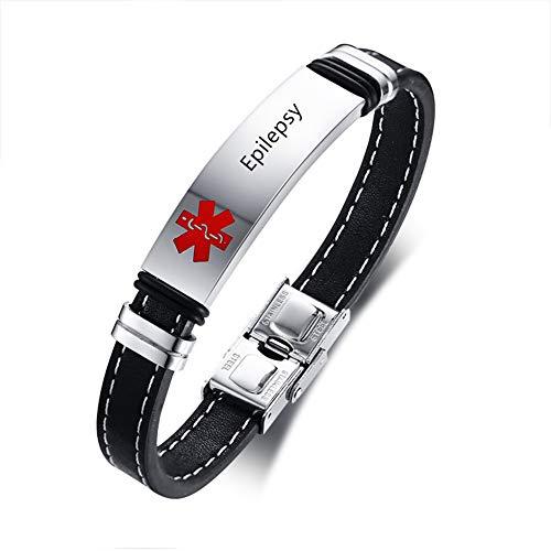NineJewelry Free Engraving Medical Bracelets for Mens Womens Sport Emergency Diabetes Bracelet Womens Adjustable Leather Medical Alert ID Bracelets for Men Gift