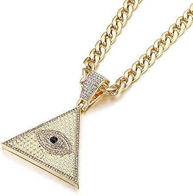KANTAN88 - Triangle Egyptian Pyramid Necklaces&pendant With Cuban Chain Iced Out Illuminati Evil Eye Of Horus Hip Hop Jewelry (Gold Color)