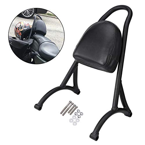 INNOGLOW Motorcycle Sissy Bar PU Backrest Rear Passenger Driver Rider Backrest Short Sissy Bar Kit with Leather Back Rest Seat Pad for Harley Sportster Iron 883 XL 2004+ (Black)