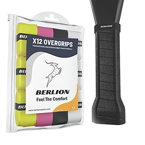 BERLION - 12 Overgrip Padel Pala o Grip Cinta Raqueta Tenis - con Goma o Anillo Protector de Empuñadura Padel Rugoso (Multicolor)