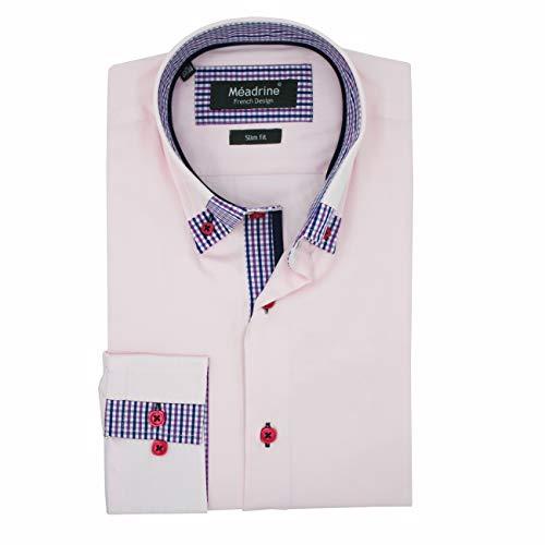 Meadrine Shirt Suit Man Rose bleke kraag werkte kleine tegels blauw-Parma