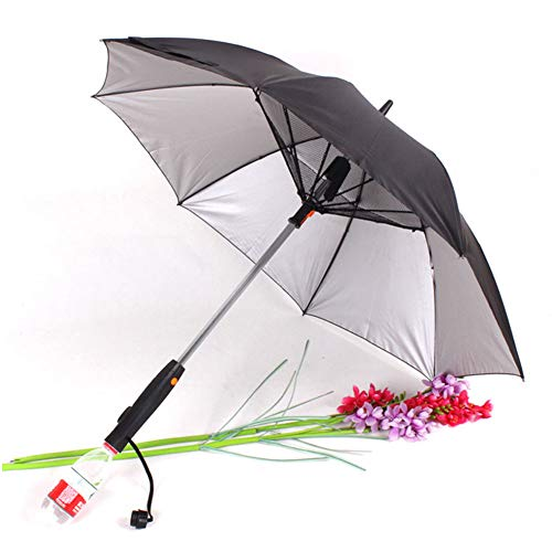 Ventilador Paraguas, Paraguas con Mango Largo Ventilador De Sol, Paraguas A Prueba De Protección UV Paraguas De Sol con Paraguas Ventilador Suplementario, Negro Plata Pegamento