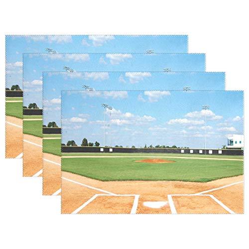 Surce Tafelmatten voor baseball-veld, antislip, van polyester, wasbaar, voor keukentafel van 1/4/6 12 x 18 inch